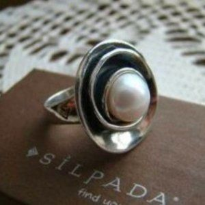 Silpada sterling silver Lily Pearl ring size 7